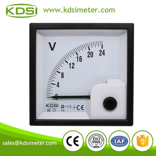 Square Type Moving Coil DC Voltmeters BE-72 DC24V Voltage Panel Meter