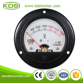 Classical round type BO-65 DC300V 3000V with backlighting DC6V analog panel voltage meter
