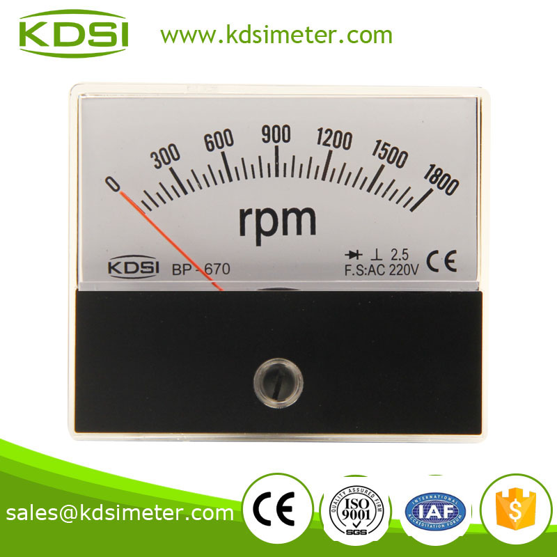 BP-670 60*70 RPM meter with rectifier1800rpm AC220V industrial universal analog meter,tachometer